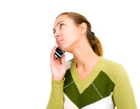 Woman with telephone. Isolated on white Stock Photography