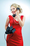 Woman with a telephone Stock Photo