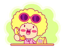 A Woman Telephone consultation. Style Girl Character Design Seri Stock Photo