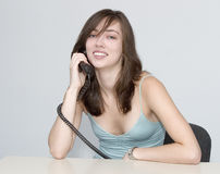 The woman. Telephone conversation. Telephone conversation. The woman's  dialogue Royalty Free Stock Photo