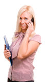 Woman with telephone and folder isolated on w Stock Image
