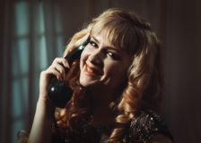 Woman On Telephone Royalty Free Stock Photos