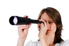 Woman with telescope Stock Photos