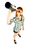 Woman with telescope Stock Images