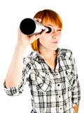 Woman with telescope Stock Photo