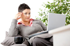 Woman teleworking at home Royalty Free Stock Photo