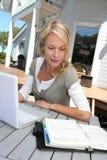 Woman teleworking on laptop Royalty Free Stock Image