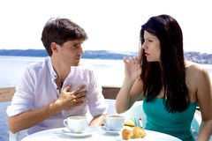 Woman telling boyfriend to shut up Stock Photo