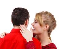 Woman telling man some secrets, couple talking Stock Photography