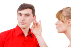 Woman telling man some secrets, couple talking Stock Photos