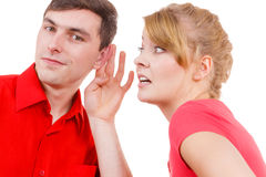 Woman telling man some secrets, couple talking Royalty Free Stock Photo
