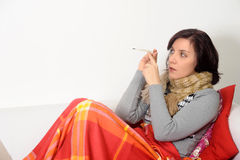 Woman  with a temperature Stock Photos