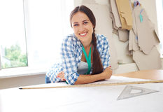 Woman with templates and ruler Stock Photography