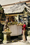 Woman at temple in bali indonesia Stock Image