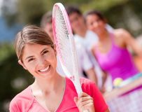 Woman at the tennis court Stock Photos