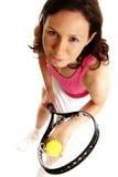 Woman Tennis Player. On white background Royalty Free Stock Photo