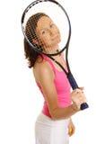 Woman Tennis Player. On white background Stock Photo