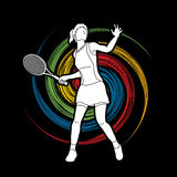 Woman tennis player action Stock Photo