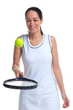 Woman tennis player bouncing ball on racket. A woman tennis player bouncing the ball on the racket, isolated on a white background Stock Images