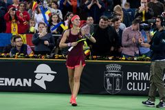 Woman tennis player celebrating the victory. CLUJ NAPOCA, ROMANIA - FEBRUARY 10, 2018: Romanian tennis player Sorana Cirstea celebrating victory against Carol Stock Photos