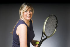 Woman tennis player happy Royalty Free Stock Photos