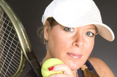 Woman tennis player happy Stock Photography