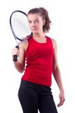 Woman tennis player isolated on the white Stock Photography