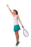 Woman tennis player isolated on the white Stock Photo