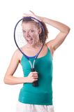 Woman tennis player isolated on the white Royalty Free Stock Images
