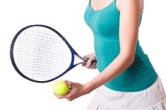 Woman tennis player isolated on the white Stock Images