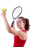 Woman tennis player isolated on the white Royalty Free Stock Photography