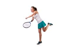 Woman tennis player isolated on the white Stock Image