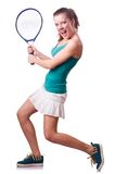 Woman tennis player isolated on the white Stock Photos