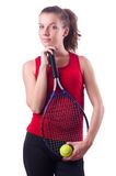 Woman tennis player isolated on the white Royalty Free Stock Photo