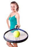 Woman tennis player isolated on the white Royalty Free Stock Photos