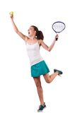 Woman tennis player isolated on the white Royalty Free Stock Image