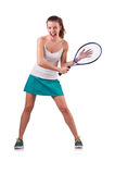 Woman tennis player isolated on white Stock Photography