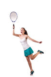 Woman tennis player isolated on white Royalty Free Stock Image