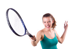 Woman tennis player isolated on white Stock Image