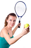 Woman tennis player isolated on white Stock Photos