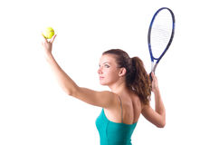 Woman tennis player isolated on white Royalty Free Stock Photo