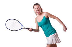 Woman tennis player isolated on white Royalty Free Stock Photos