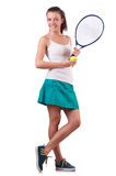 Woman tennis player isolated on white Stock Photo