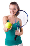Woman tennis player isolated on white Royalty Free Stock Images