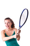 Woman tennis player isolated on white Stock Images