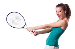Woman tennis player isolated on white Royalty Free Stock Photography