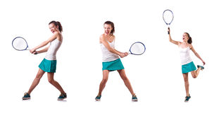 The woman tennis player isolated on white Royalty Free Stock Photos