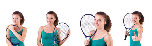 The woman tennis player isolated on white Royalty Free Stock Photography