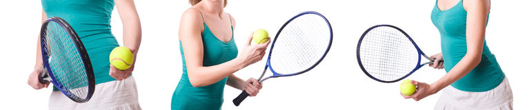 The woman tennis player isolated on white Stock Images