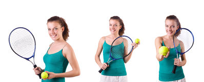 The woman tennis player isolated on white Stock Photo